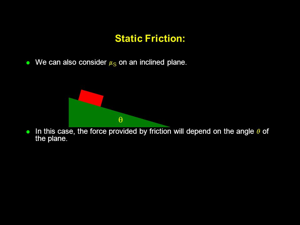 Static Friction:  We can also consider S on an inclined plane.