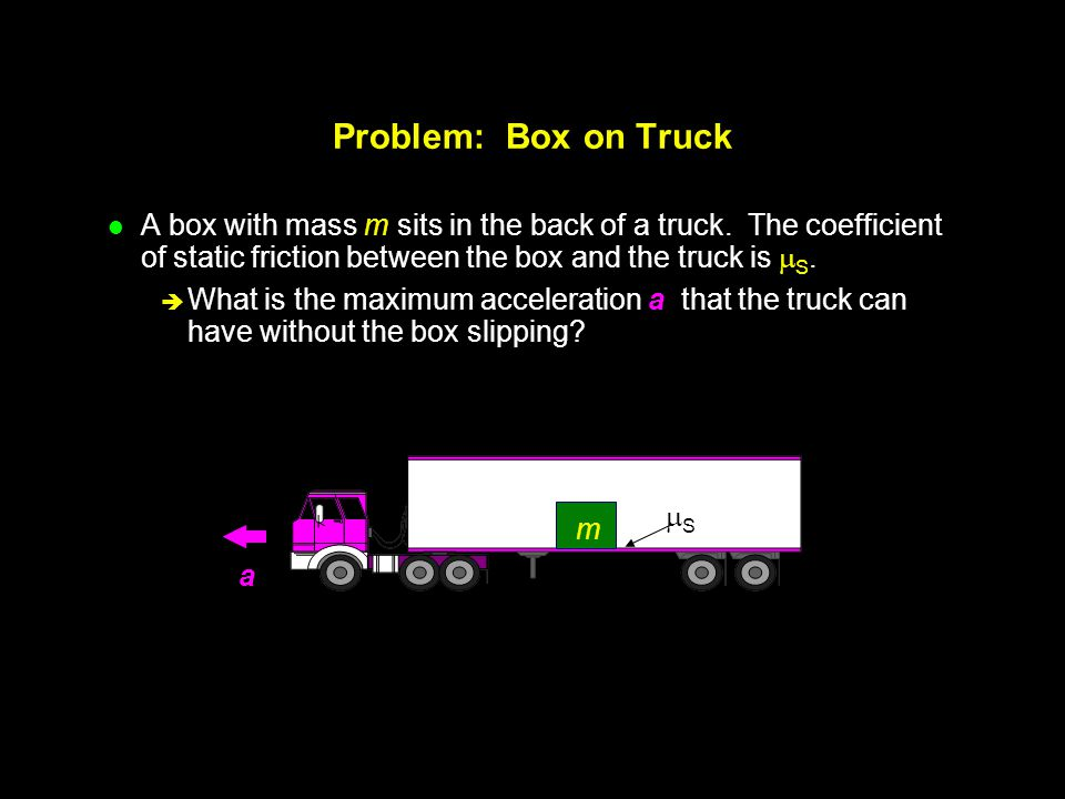Problem: Box on Truck A box with mass m sits in the back of a truck. The coefficient of static friction between the box and the truck is S.