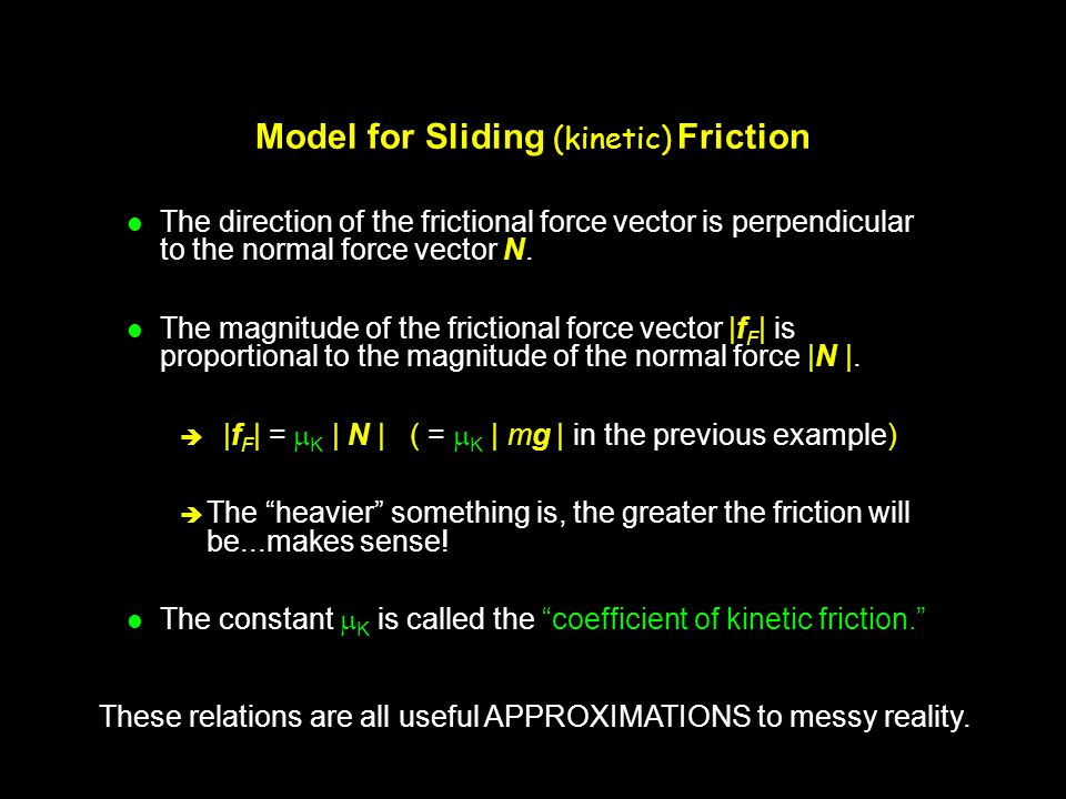 Model for Sliding (kinetic) Friction