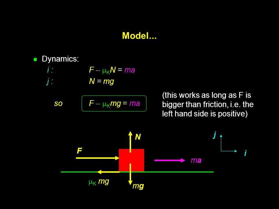 Model... Dynamics: i : F  KN = ma j : N = mg so F Kmg = ma