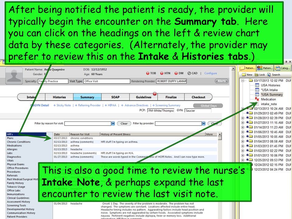 After being notified the patient is ready, the provider will typically begin the encounter on the Summary tab. Here you can click on the headings on the left & review chart data by these categories. (Alternately, the provider may prefer to review this on the Intake & Histories tabs.)