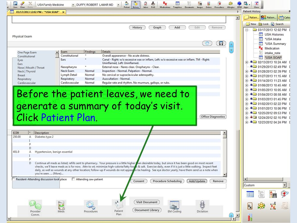 Before the patient leaves, we need to generate a summary of today's visit. Click Patient Plan.