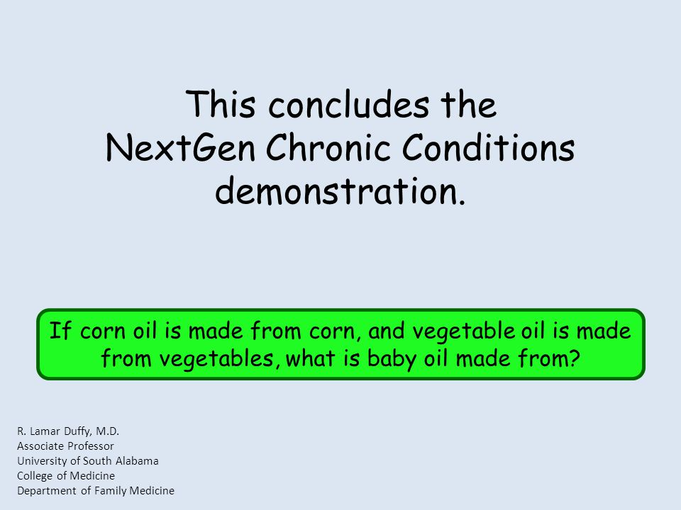 This concludes the NextGen Chronic Conditions demonstration.
