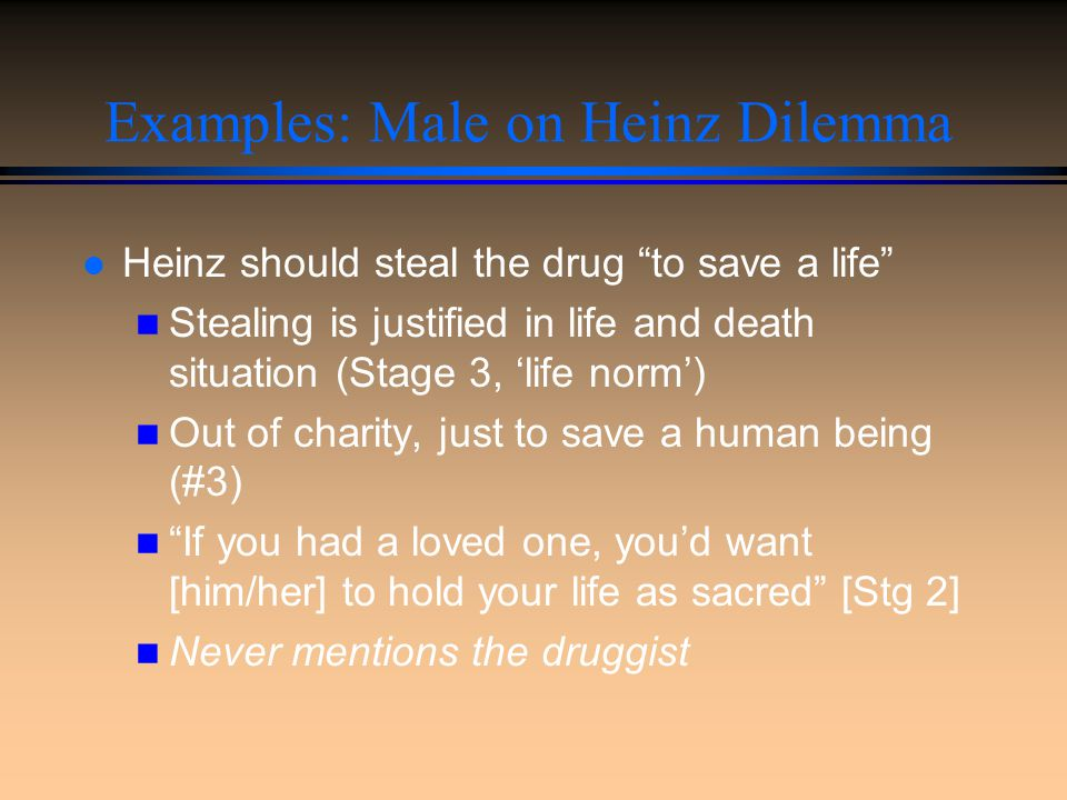 Examples: Male on Heinz Dilemma