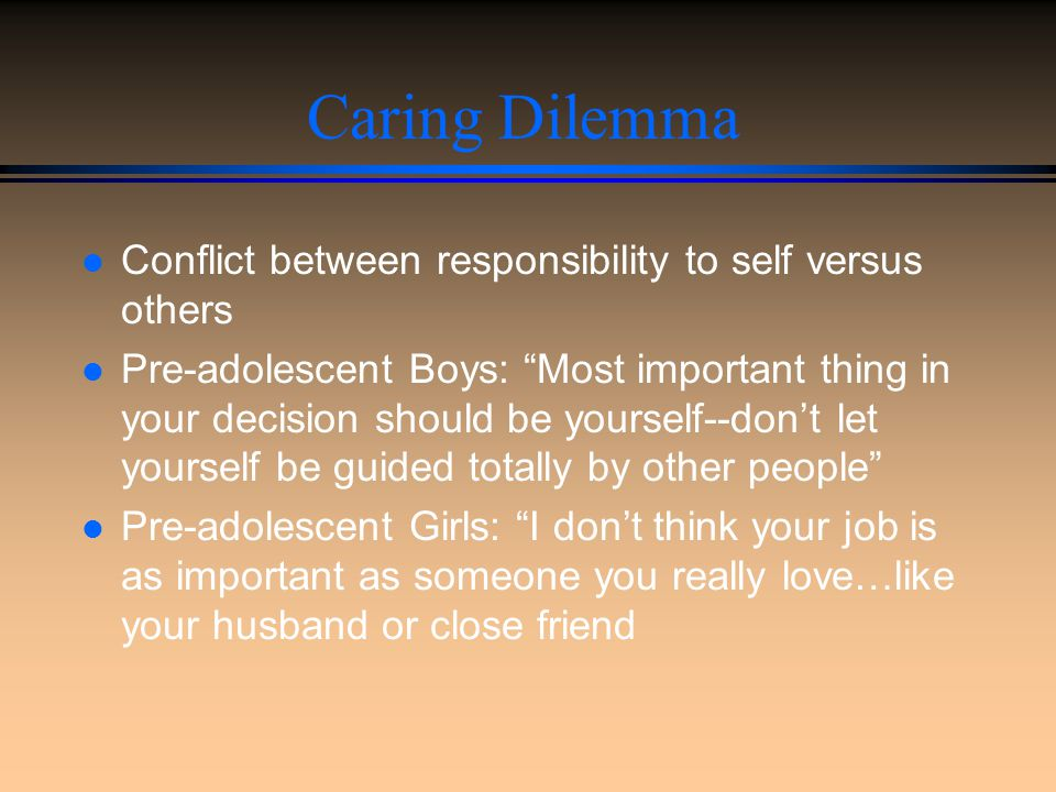 Caring Dilemma Conflict between responsibility to self versus others