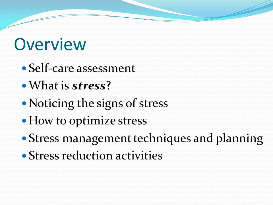 Optimizing Stress Stress Reduction For Student Leaders  Ppt