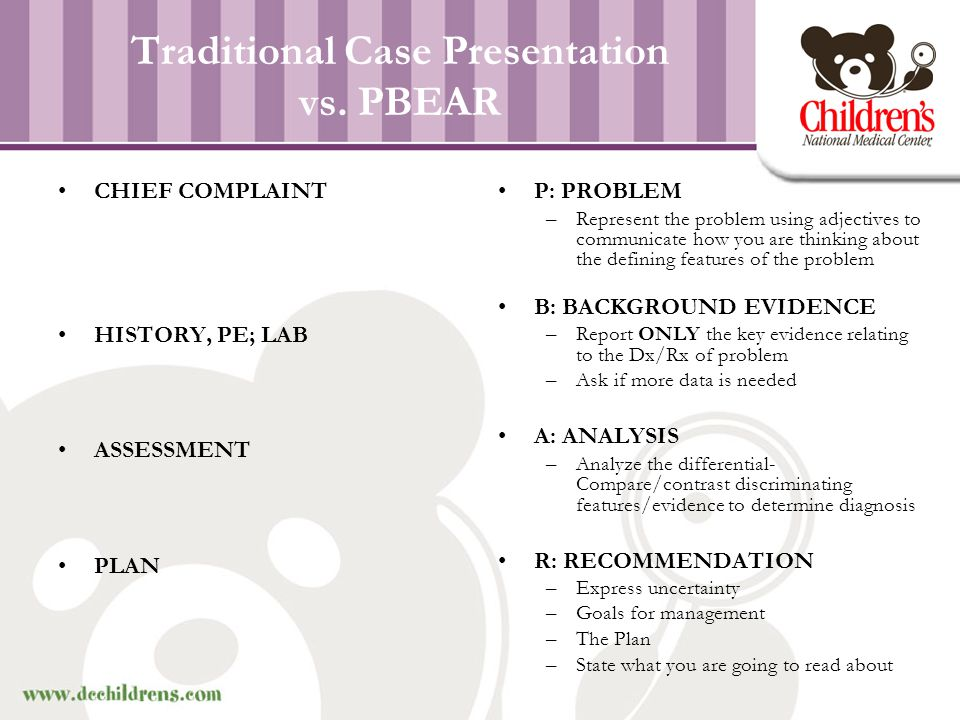 Traditional Case Presentation vs. PBEAR