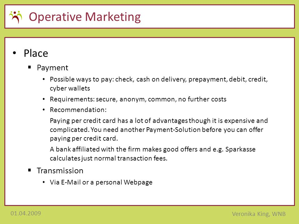 Operative Marketing Place Payment Transmission