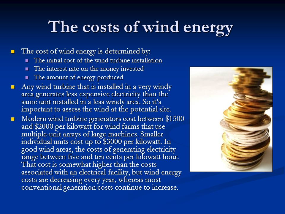The costs of wind energy