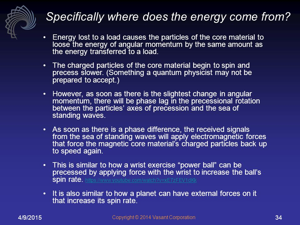 Specifically where does the energy come from