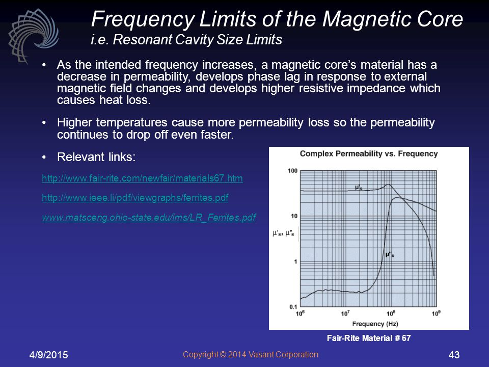 Frequency Limits of the Magnetic Core i.e. Resonant Cavity Size Limits
