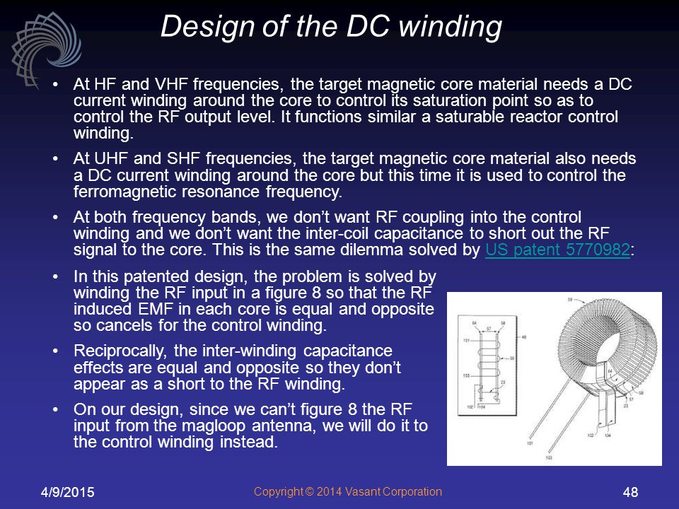 Design of the DC winding