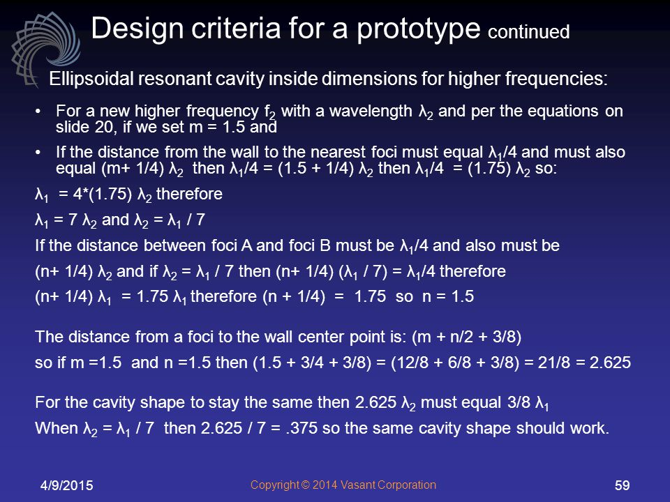 Design criteria for a prototype continued