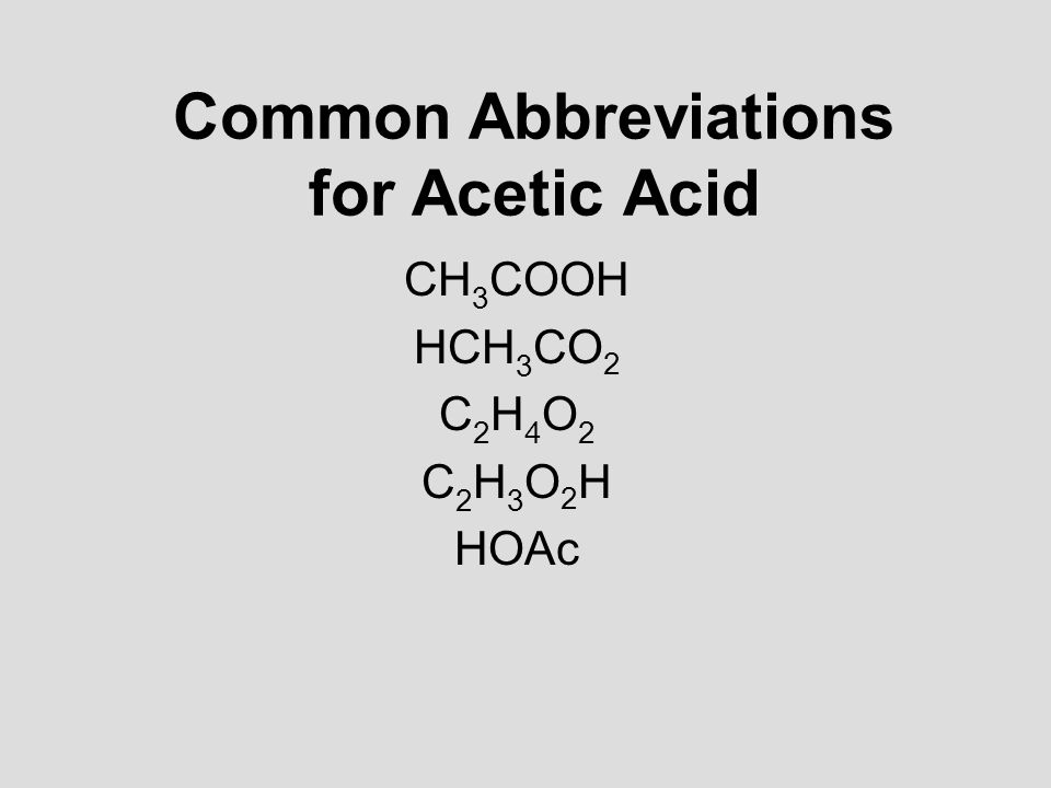 Common Abbreviations for Acetic Acid