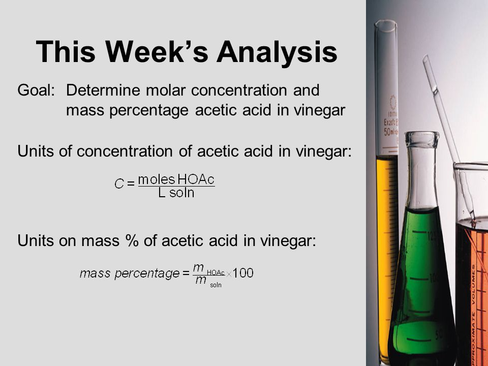 percent of acetic acid in vinegar by volumetric analysis Chemistry 1061: principles of chemistry i titration titration of acetic acid in vinegar introduction a titration is a technique often used to find the concentration of a solute in a.