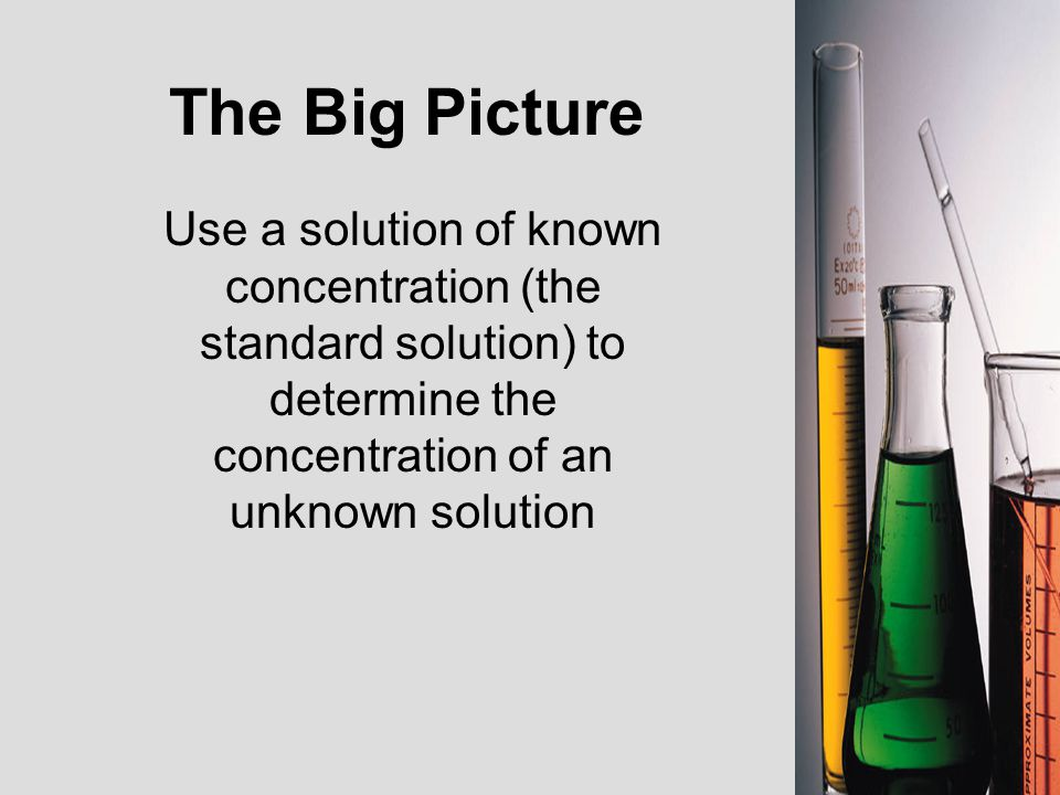 The Big Picture Use a solution of known concentration (the standard solution) to determine the concentration of an unknown solution.