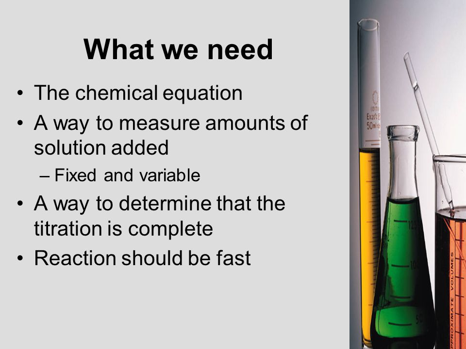 What we need The chemical equation
