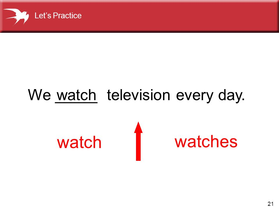 Let's Practice We _____ television every day. watch watch watches