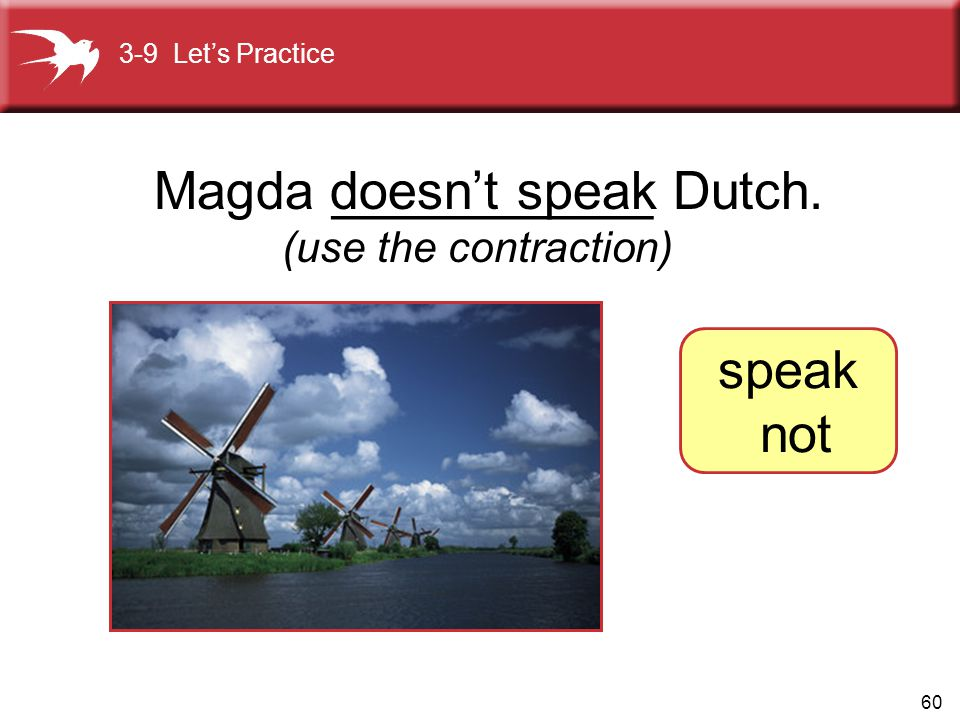 Magda ___________ Dutch. doesn't speak