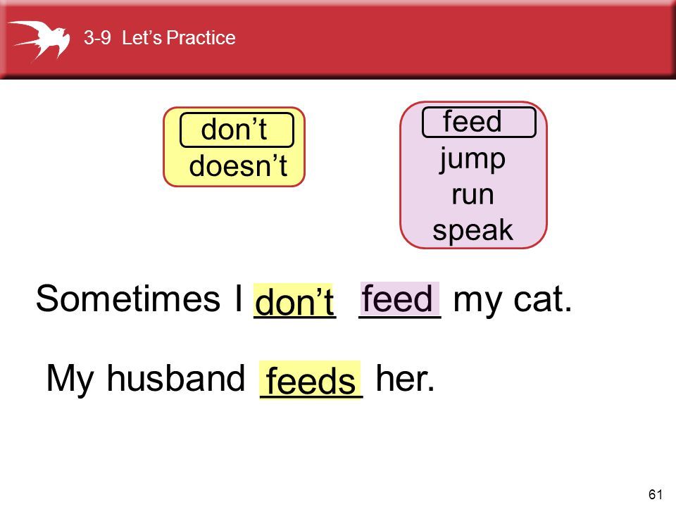 Sometimes I ____ ____ my cat. My husband _____ her. feeds