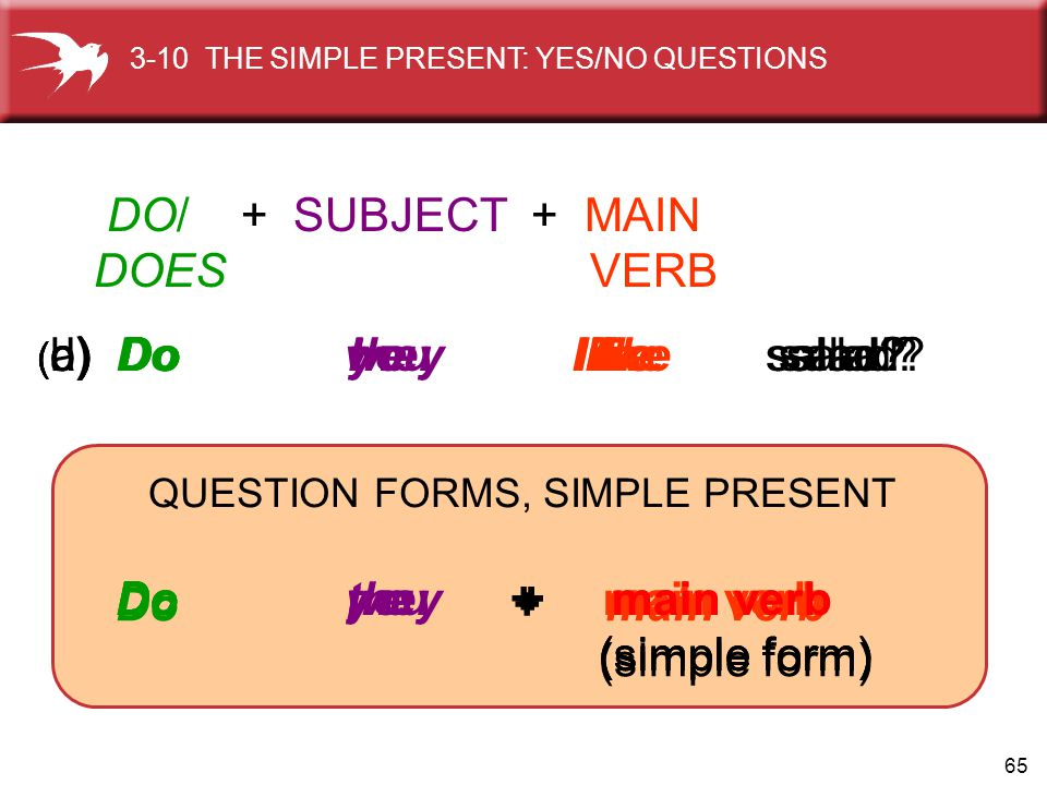 QUESTION FORMS, SIMPLE PRESENT