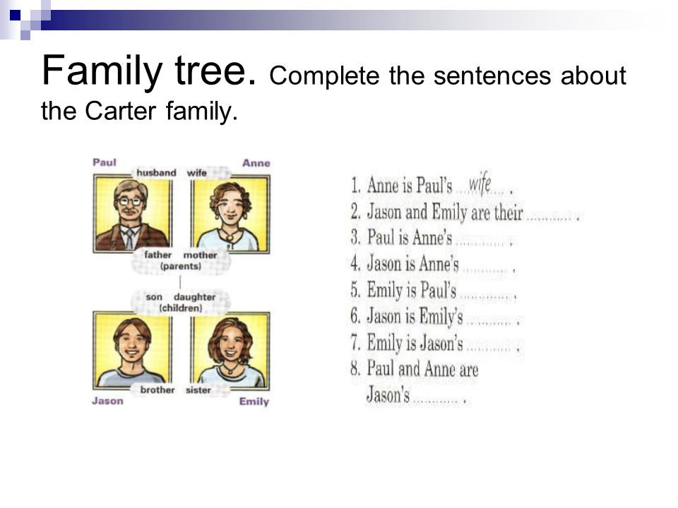 Family tree. Complete the sentences about the Carter family.