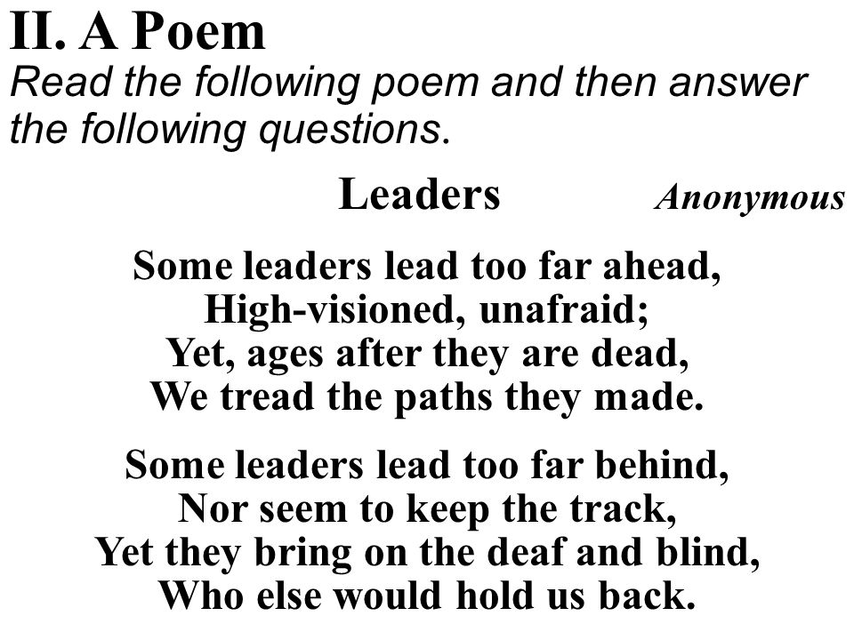 II. A Poem Leaders Anonymous