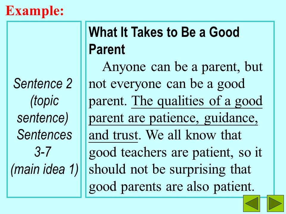 Example: Sentence 2 (topic. sentence) Sentences 3-7 (main idea 1) What It Takes to Be a Good Parent
