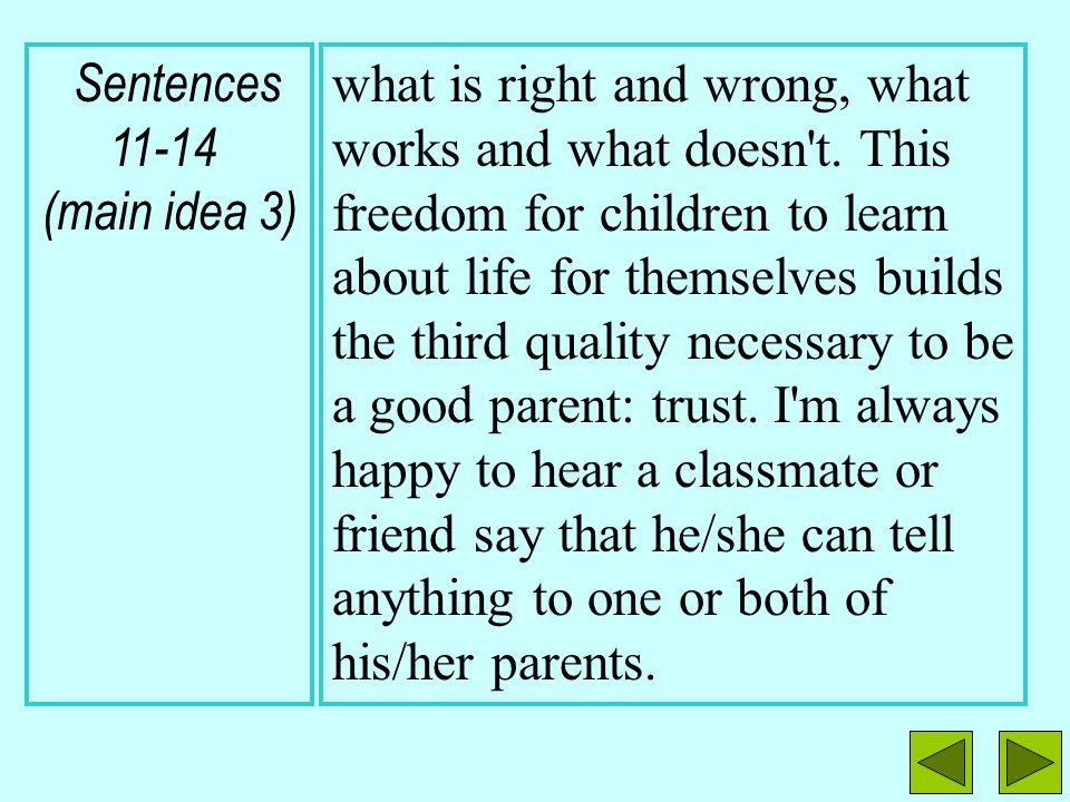 Sentences 11-14 (main idea 3)