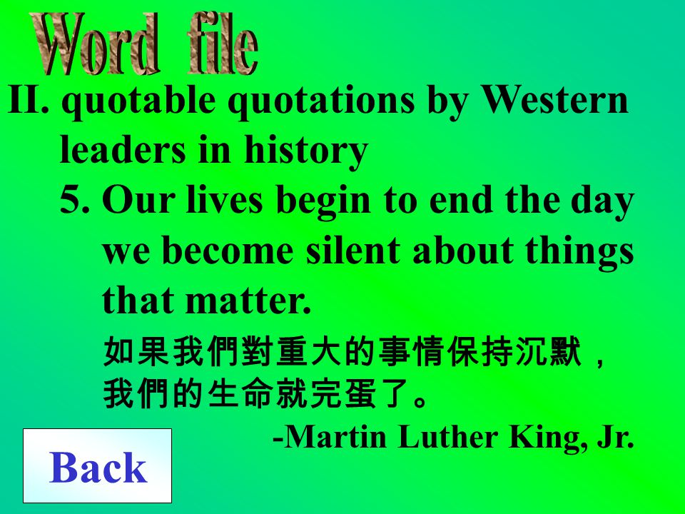 Back II. quotable quotations by Western leaders in history