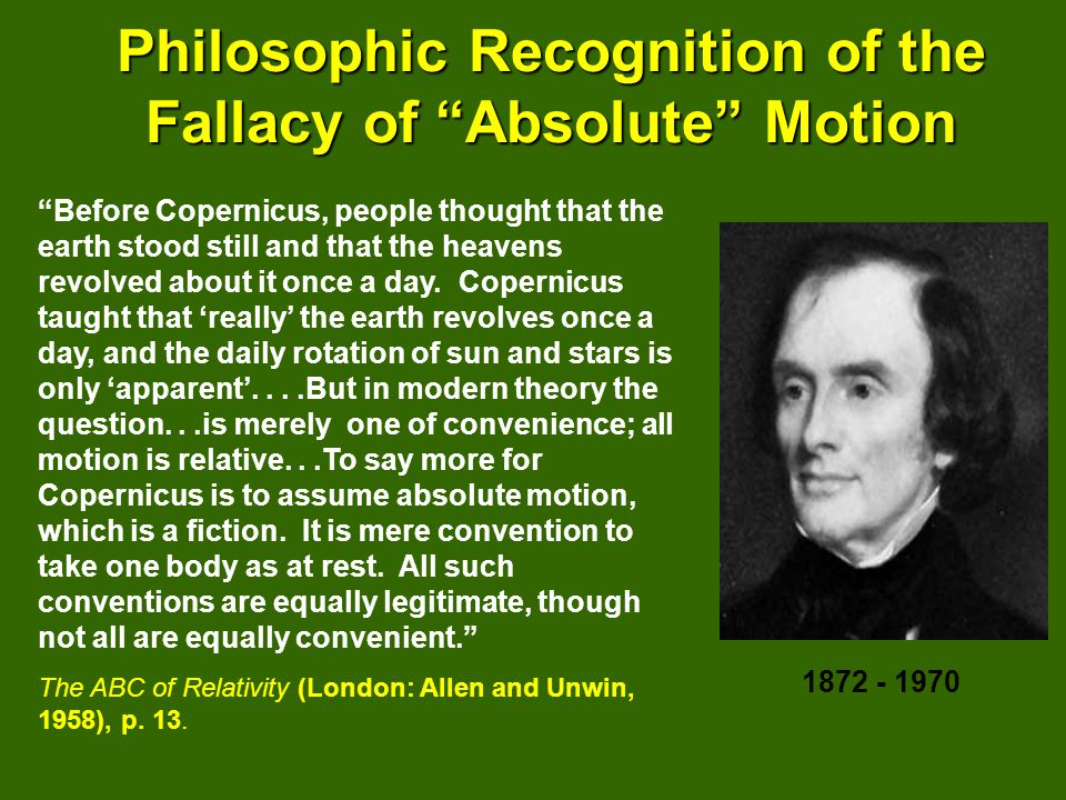 Philosophic Recognition of the Fallacy of Absolute Motion