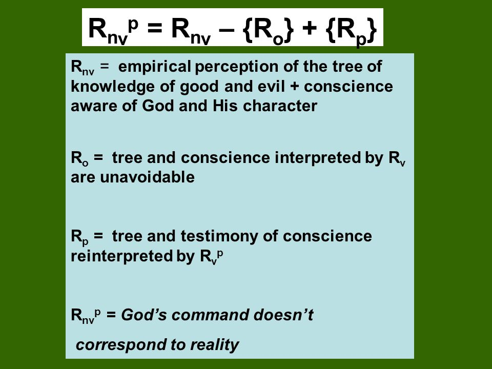Rnvp = Rnv – {Ro} + {Rp} Rnv = empirical perception of the tree of knowledge of good and evil + conscience aware of God and His character.