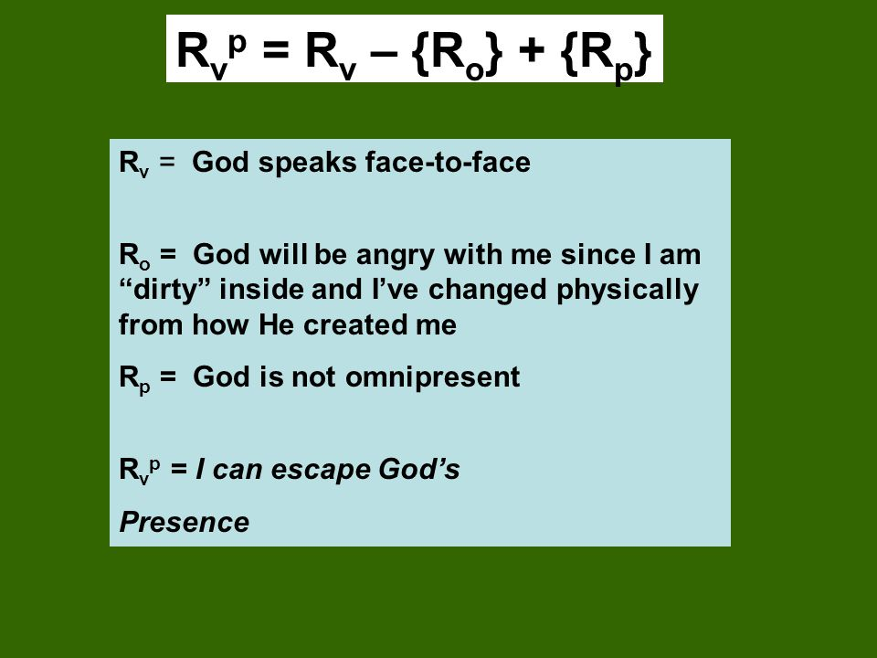 Rvp = Rv – {Ro} + {Rp} Rv = God speaks face-to-face