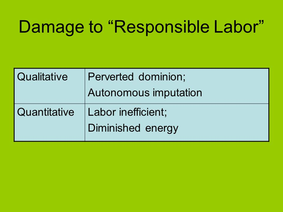 Damage to Responsible Labor
