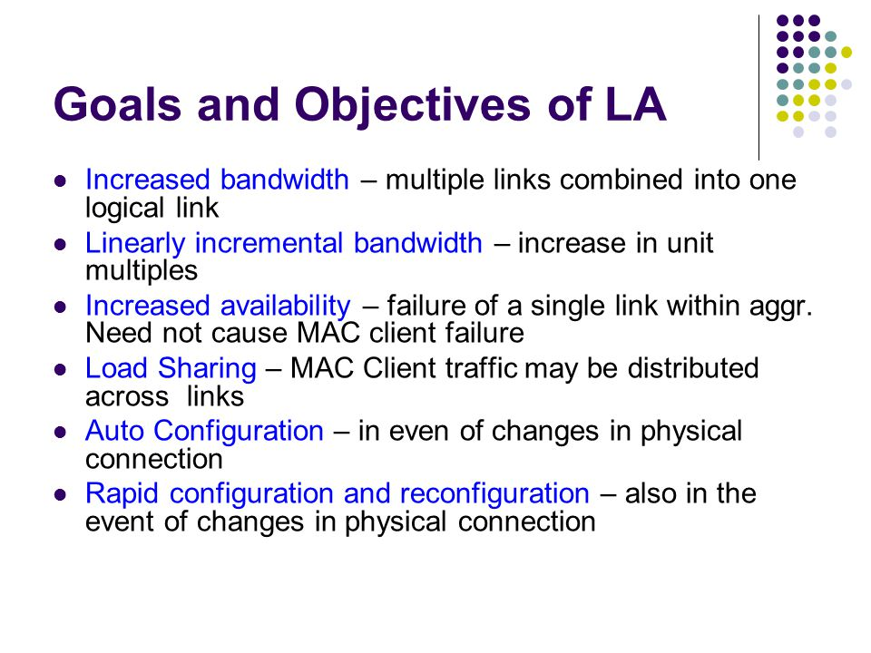 Goals and Objectives of LA