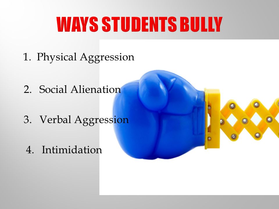 WAYS STUDENTS BULLY 1. Physical Aggression Social Alienation