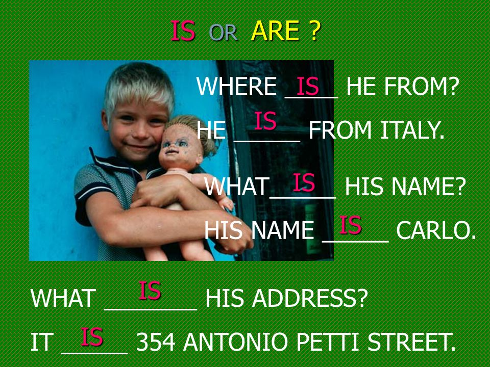 IS OR ARE WHERE ____ HE FROM HE _____ FROM ITALY. IS IS IS