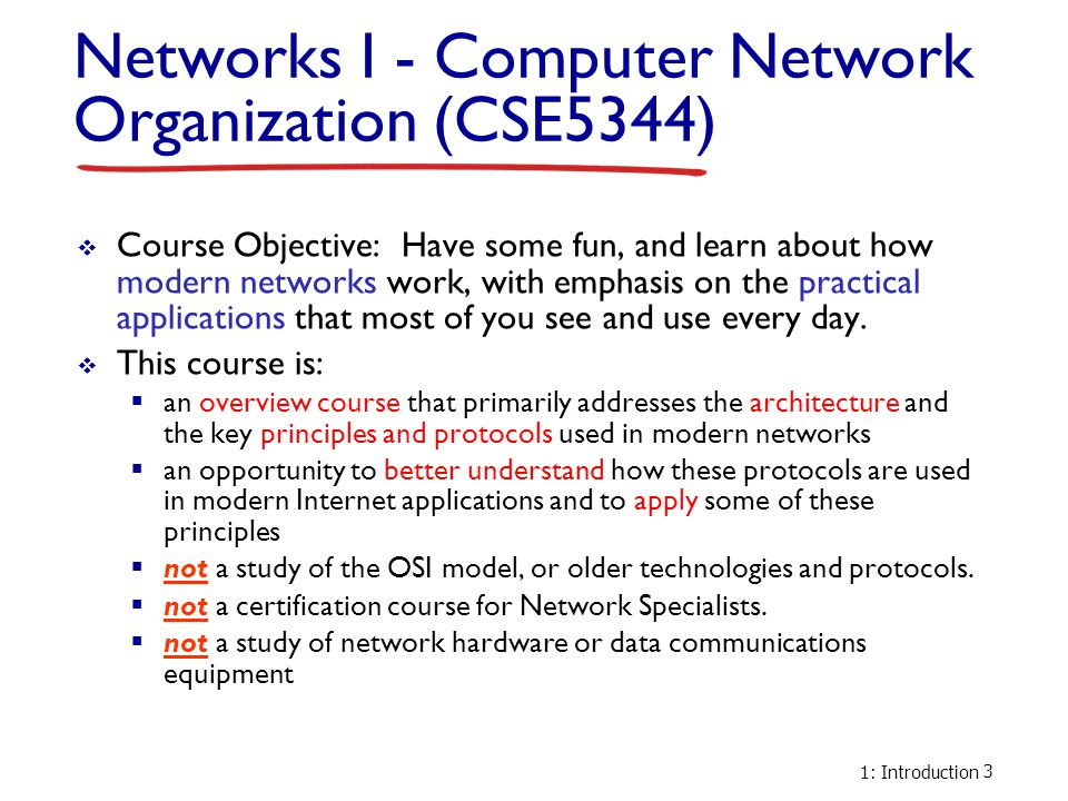 Networks I - Computer Network Organization (CSE5344)