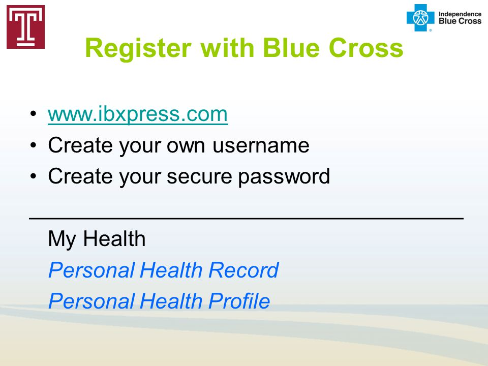 Register with Blue Cross