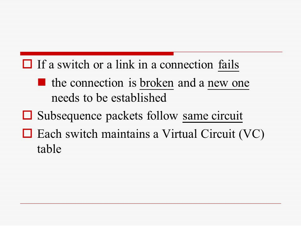 If a switch or a link in a connection fails