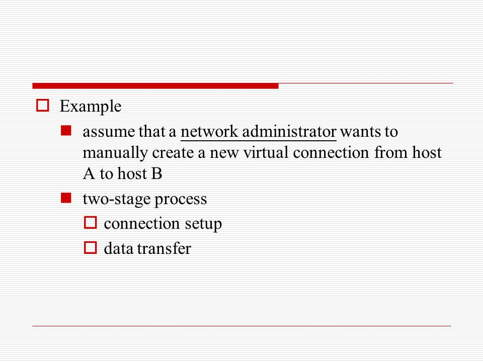 Example assume that a network administrator wants to manually create a new virtual connection from host A to host B.