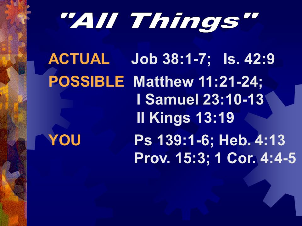 All Things ACTUAL Job 38:1-7; Is. 42:9.