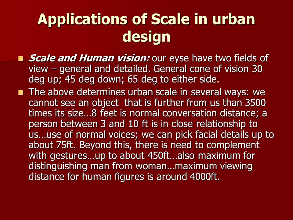 Applications of Scale in urban design
