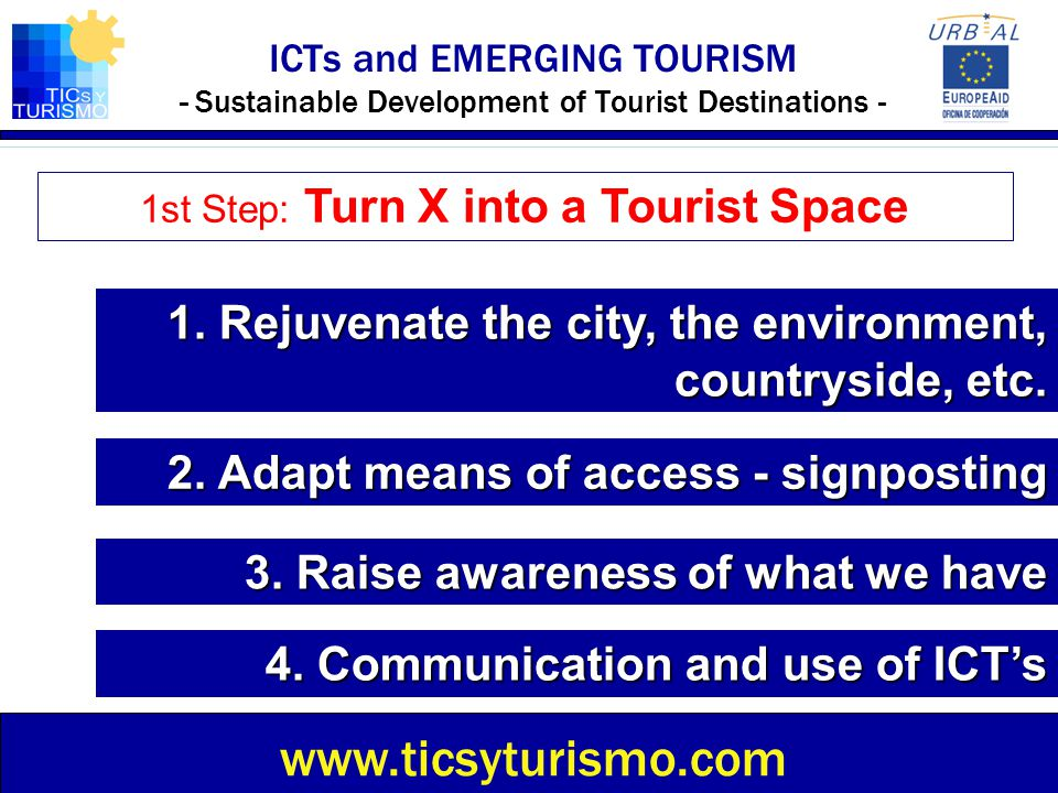 1st Step: Turn X into a Tourist Space