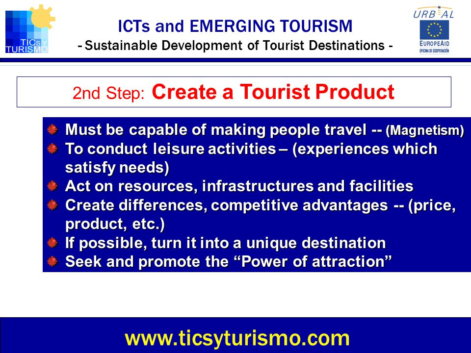 2nd Step: Create a Tourist Product