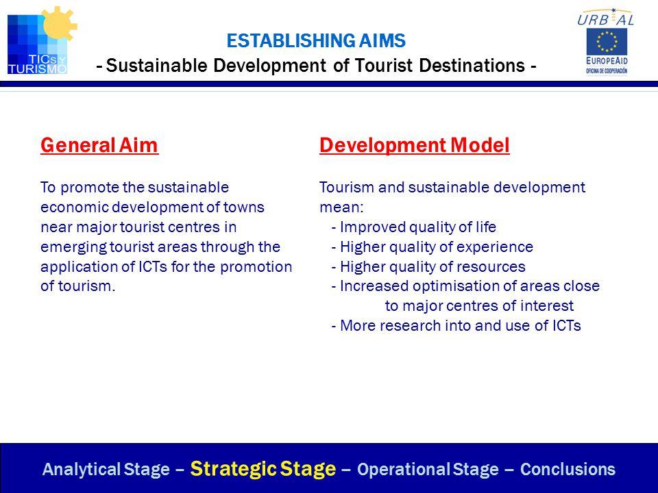 ESTABLISHING AIMS - Sustainable Development of Tourist Destinations -