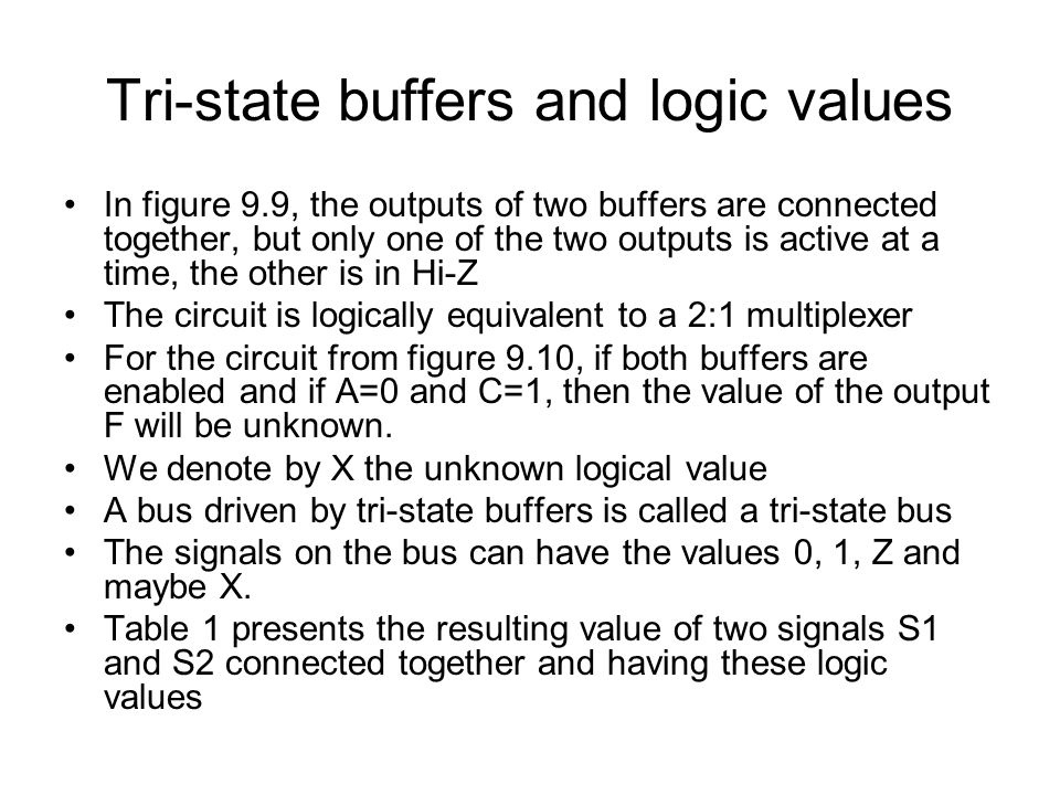 Tri-state buffers and logic values