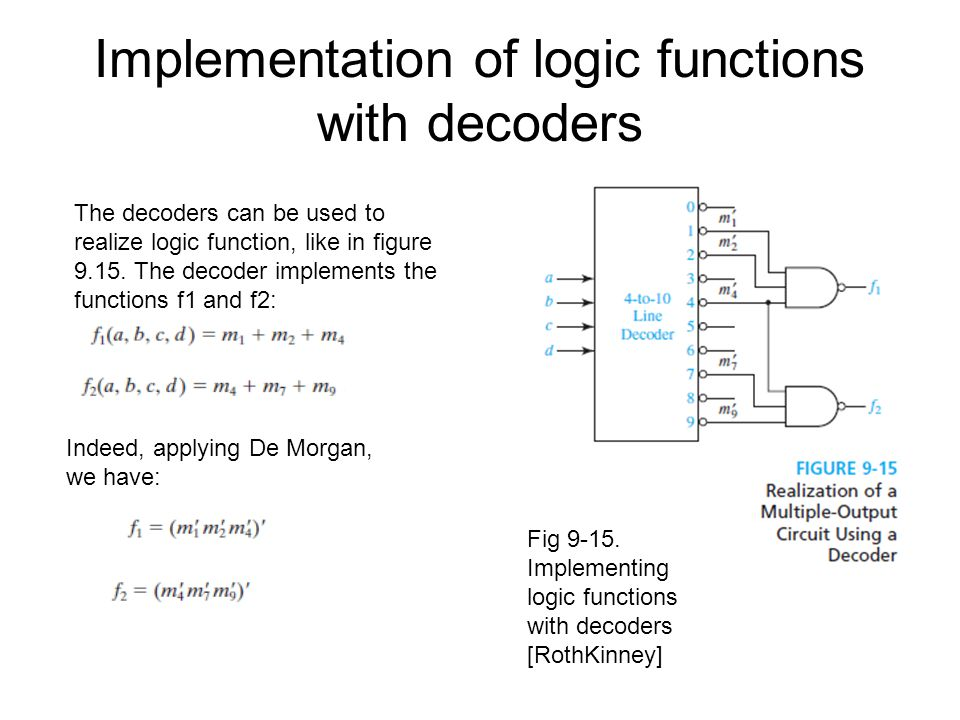 Implementation of logic functions with decoders