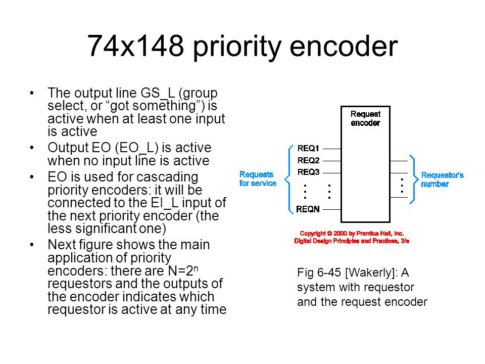 74x148 priority encoder The output line GS_L (group select, or got something ) is active when at least one input is active.
