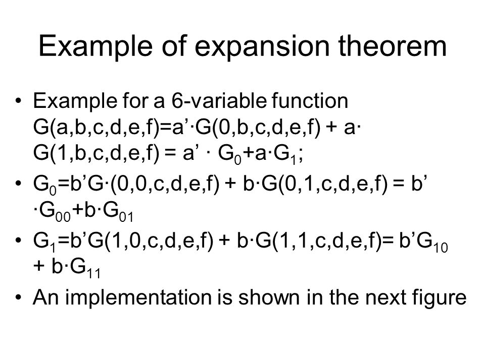 Example of expansion theorem